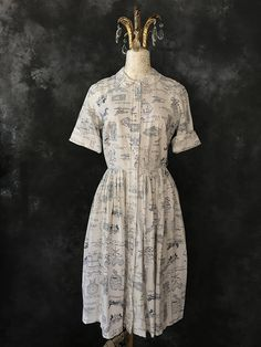 Vintage navy blue and off white Cos Cob novelty Cos Cob, Shirtwaist Dress, Off White, 1950s, Navy Blue, Short Sleeve Dresses, Silk, Fabric, Cotton