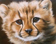 Cheetah Cub Sarah Stribbling Original Oil Painting | eBay