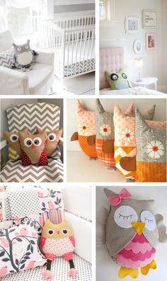 Cute owl pillows - Owl nursery - Decoração para os pequenos: corujas