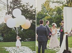Vintage Parisian Cirque Inspired Wedding: Jessica + Jerrod - love the idea of the flower girl walking down with balloons!