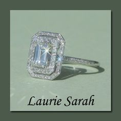 """Emerald Cut Diamond Engagement Ring with double halo - LS1432 via Etsy ..... OMG...did I just find """"my"""" ring?! Custom thicker band for every day wear and possibly lower mount with double bands...... YES!!!! $6762.00"""