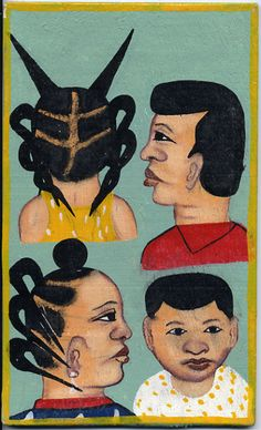 Hair braiding sign, Benin.
