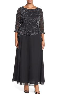 Free shipping and returns on J Kara Embellished Mock Two Piece Gown (Plus Size) at Nordstrom.com. Gleaming beads light up a glamorous chiffon gown, emphasizing the two-piece look while a gauzy, ankle-skimming skirt flares from the waist for a flattering, A-line finish.
