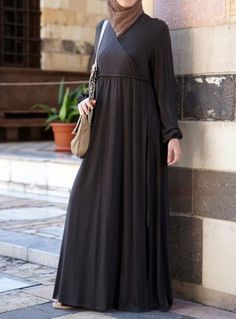 Faux Wrap Abaya Save 46% Burnt Brown color  Soft, modest and lovely, this dress is something special. The delightful feminine touches like the tied cuffs and the faux wrap not only make it maternity and breastfeeding friendly, the design also flatters a variety of body types! Made from a mainly rayon blend jersey fabric with just a hint of polyester to stop the fabric from over-stretching and losing shape.