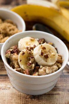Overnight Crockpot Banana Bread Oatmeal Recipe - healthy make ahead breakfast. Uses steel cut oats