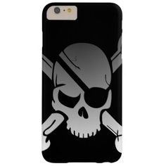 Simple Grey Pirate Skull and Crossbones Barely There iPhone 6 Plus Case - modern gifts cyo gift ideas personalize