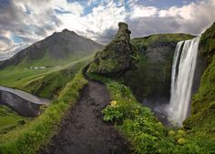 Waterfall Path, Iceland photo via redwing