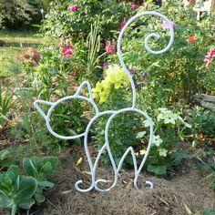 Coq blanc et doré en fer forgé pour décoration de jardin ...