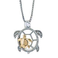 Diamond Turtle Mom & Child Necklace