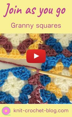 A handy crochet tip: crochet granny squares together on the last row, join as yo. : A handy crochet tip: crochet granny squares together on the last row, join as you go. Shown in a clear videotutorial. Crochet Quilt, Crochet Blocks, Crochet Motif, Crochet Designs, Crochet Patterns, Free Crochet, Joining Crochet Squares, Granny Square Crochet Pattern, Crochet Granny
