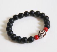 Men's Bracelets - Men's Jewelry - Men's Matte black Onyx,Coral and Tibetan Bead Bracelets- Beaded bracelet- Unisex bracelets