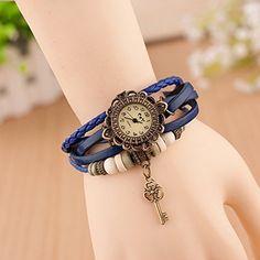 Retro Quarzuhr Armreif Leder Armbanduhr Damenuhr Uhr Kaffeebraun Schlüssel Blau - http://uhr.haus/sanwood/blau-retro-quarzuhr-armreif-leder-armbanduhr-uhr-2