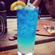 AMF (Adios Motherfucker) - 1/2oz Vodka, 1/2oz Rum, 1/2oz Gin, 1/2oz Tequila, 1/2oz Blue Curacao, 2oz Sweet & Sour Mix, & 2oz 7-Up
