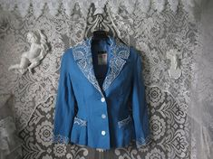 50's 60's Sky Blue Tailored Jacket With Lace Netting