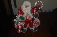 POSSIBLE DREAMS CLOTHTIQUE CANDY CANE SANTA  #15101, 12 INCHES TALL