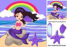 Pretty mermaid sitting on a rock holding a purple shell 8x8 on Craftsuprint - Add To Basket!