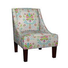 Venda Sloped Arm Chair featuring Essence 10- Spring Cream by drapestudio   Roostery Home Decor