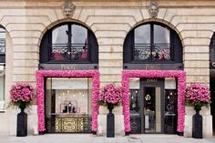 The Piaget boutique on Place Vendome decorated with Yves Piaget Roses in celebration of the #PiagetRoseDay #PiagetRose by @Piaget Huewe - #Paris.
