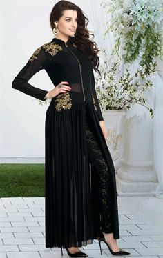 Exotic Black Color Ready Made Salwar Kameez for Party