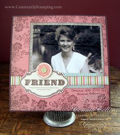 Sale-a-bration 8x8 scrapbook page using Fresh Vintage stamp set and Beau Chateau side notes.