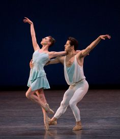 "A pas de deux set to scores for clarinet and piano by André Previn and Leonard Bernstein, ""A Place For Us"" is Christopher Wheeldon's latest work for NYCB.  Tiler Peck and Robert Fairchild"