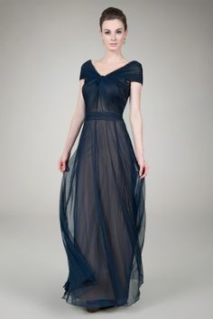 Tulle Twist Gown in Navy / Nude | Tadashi Shoji for the bridesmaids and then match that blue in my dress somehow!