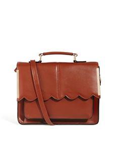 Image 1 ofASOS Satchel Bag With Scallop Bar Detail