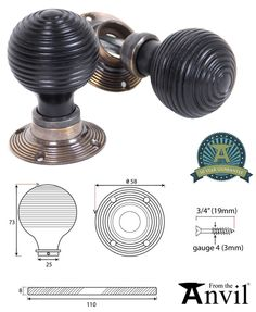 From The Anvil Beehive Mortice/Rim Knob Set, Ebony & Polished Nickel - 83634 (sold in pairs) - From The Anvil Range - From The Anvil Mortice & Rim Door Knobs Door Furniture, Beehive, Polished Nickel, Knob, Antique Brass, Antiques, Loft, Accessories, Antiquities