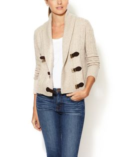 Cable Knit Cashmere Buckle Cardigan by Autumn Cashmere at Gilt. orig $396, only $210 on gilt