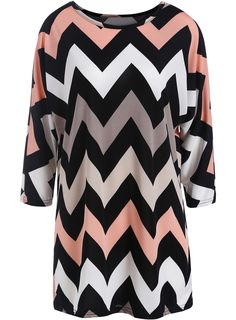 Black Round Neck Zigzag Print Loose Dress
