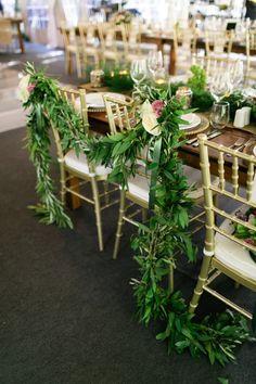 Chivari chairs w greenery Tent Wedding, Wedding Reception Decorations, Wedding Centerpieces, Wedding Events, Table Decorations, Wedding Receptions, Wedding Stuff, Dream Wedding, Weddings