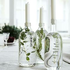 Old bottle table vase and candle holder idea