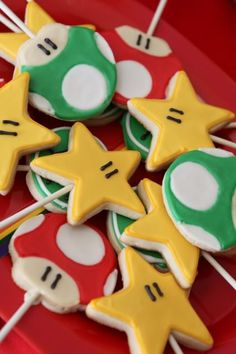 CUTE mario themed birthday party with lots of ideas! Via Kara's Party Ideas. #mario #party #cookies #idea