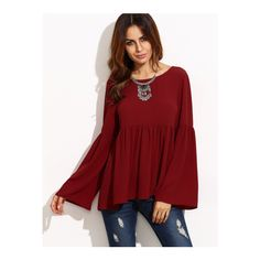 SheIn(sheinside) Burgundy Bell Sleeve Cutout Back Babydoll Blouse ($16) ❤ liked on Polyvore featuring tops, blouses, burgundy, collar blouse, burgundy blouse, red ruffle blouse, bell sleeve blouse and embellished blouse