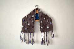 Crochet cowl scarf neckwarmer, braided scarf, Chunky Cowl Scarf Shawl, grey cowl, infinity scarf, Scarf with Tassels
