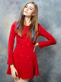 ELF SACK Rhinestone Beaded Dress In Red