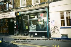 Black Market Records, D'Arbly Street, London. Downstairs in the metal box for jungle & Ray Keith behind the counter.