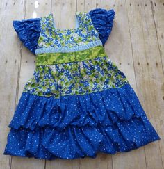 Little girls blue and green dressy dress Gwyndolen with double bubbles by EmelineDesign on Etsy