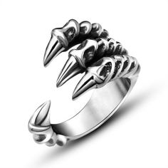 [Visit to Buy] 2017 High Quality Punk Rock Titanium Steel Men's Biker Rings Vintage Gothic Jewelry Silver Color Dragon Claw Ring Men Mode Punk Rock, Style Punk Rock, Rock Vintage, Vintage Gothic, Vintage Rings, Vintage Men, Retro Vintage, Vintage Jewelry, Gothic Jewelry