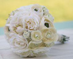 Silk Bride Bouquet Cream Roses Ranunculus by braggingbags on Etsy, $79.99
