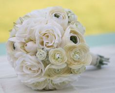 Silk Bride Bouquet Cream Roses Ranunculus by braggingbags on Etsy, $79.99