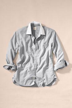 Men's Contrast Collar Oxford Shirt - Stone Gray, M