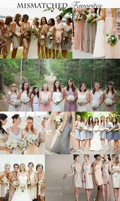 A collection of the best mismatched bridesmaid dresses. #Wedding #WeddingInspiration #BridesmaidDresses