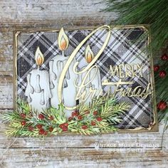 I'm back today sharing another project that I created for the Tim Holtz Holiday Inspiration Series. This Candlelight Merry Christmas Card was created using new and rereleased Tim Holt Christmas Cards 2017, Merry Christmas Card, Vintage Christmas Cards, Xmas Cards, Holiday Cards, Atc Cards, Christmas Candles, Christmas 2015, Tim Holtz Stamps