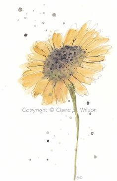 Sunflower Original watercolor 5x7 by claireswilson on Etsy, $25.00