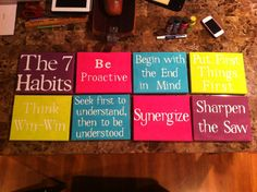 Colorful 7 Habits of Highly Effective People wall art.