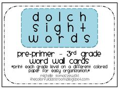 Dolch Sight Words - Word Wall Cards (or flash cards)-Pre-Primer-Primer-1st Grade-2nd Grade-3rd Grade-Nouns...