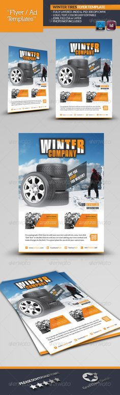 Winter Tires Flyer Template — Photoshop PSD #ice #winter • Available here → https://graphicriver.net/item/winter-tires-flyer-template/6255970?ref=pxcr