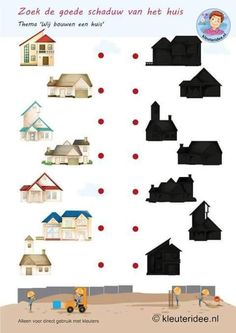 Find the right shade by the house, build theme houses, kindergartens idea, free printable. Preschool Learning Activities, Preschool Themes, Infant Activities, Teaching Kids, Kids Learning, Body Preschool, Critical Thinking Activities, Home Themes, Grande Section