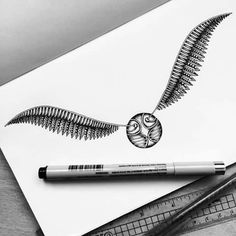 The Golden Snitch from Harry Potter. Black and White, Ink Detailed Drawings. By Pavneet Sembhi. Harry Potter Tattoos, Harry Potter Snitch, Arte Do Harry Potter, Harry Potter Drawings, Ink Drawings, Cool Drawings, Detailed Drawings, Tattoo Sketches, Golden Snitch Tattoo